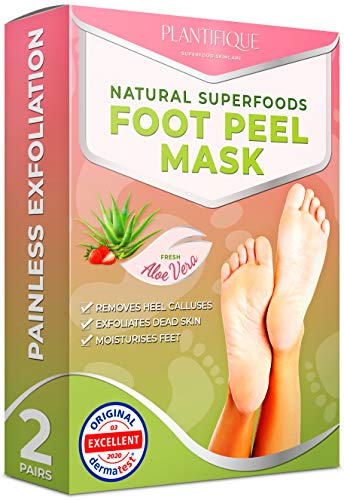 Plantifique Foot Exfoliator Peeling Mask - Foot Peel Mask for Dry, Cracked Feet Repair and Callus Remover | Dead Skin Remover for Feet-Rough Heel Repair in 7 Days | Foot Peeling Mask for Men and Women