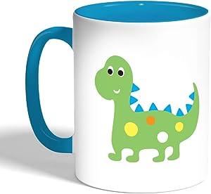 كوب سيراميك للقهوة، لون ازرق، بتصميم رسوم كرتونية - ديناصور