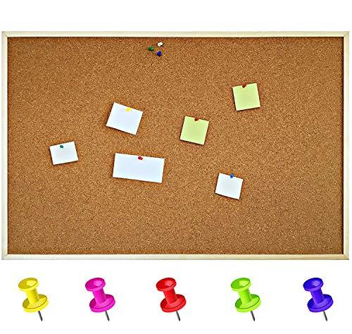 Creative Home 90 x 60 cm Pinnwand Korkwand Kork Memoboard | inkl. 5 Pinwandnadeln | Groß Korkpinnwand Korktafel Holzrahmen | Hergestellt in der EU | Ideal für Büro, Schule, Schlafzimmer und Heim