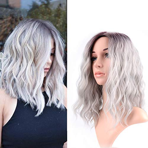 FAELBATY 14 Inch Curly Grey Wig Short bob Wigs Shoulder Length side part Women's Short Wig ombre color Synthetic Cosplay Wig for Girl Halloween Costume Wigs Ombre Purple Grey Color