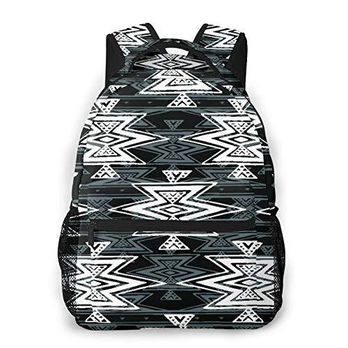 RUPIHU Mochila casual clásica,Colorido blanco y negro tribal Navajo Azteca abstracto geométrico étnico diseño inconformista,Mochila para computadora de negocios grande Mochila escolar universitaria