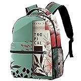 Mochila escolar para hombres y mujeres, bolsa de libros para ordenador portátil, estilo informal, con unicornio plano, Multicolor 5,