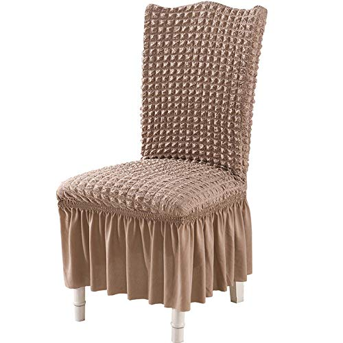 Dining Room Stretchy Chairs Protective Cover,Seat Covers,Covers for Party dining chairs,Removable Seat Chair Covers,Spandex Washable Chair Slipcovers for Home,Hotel,Wedding Banquet-camel_Pack_of_6