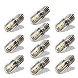 Ruiandsion E10 Bombilla LED 220V 230V AC Luz indicadora LED de ahorro de energía E10 Base de tornillo 3030 4SMD Chipsets Bombilla LED de actualización, amarillo (paquete de 10)