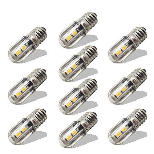 Ruiandsion E10 Ampoule LED 220V 230V AC Voyant LED à économie d'énergie 8mm Base à vis 3030 4SMD Chipsets LED Ampoule de mise à niveau, jaune (paquet de 10)
