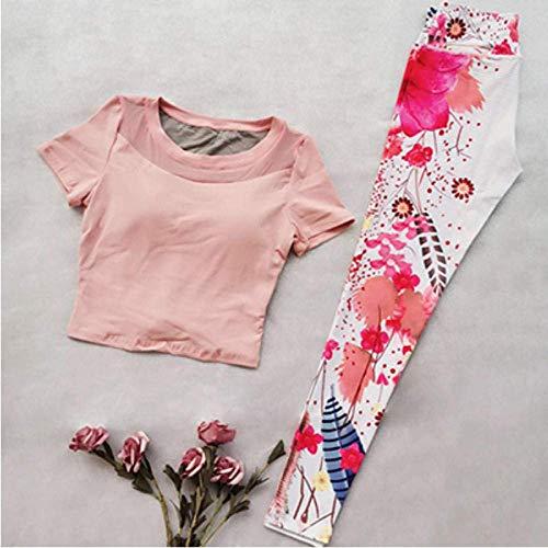 PJPPJH Sicherheitshose mit hoher Taille, Yoga-Shirt Sporthemd Yoga-Sets mit Fitness-Print Jogging-Kleidung für Fitness-Frauen Nahtloses Sport-Set