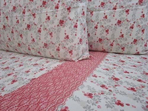 Parure de lit double en flanelle de pur coton, drap plat 240 x 280 cm. Drap housse 180 x 200 cm. 2 taies d'oreiller : 52 x 82 cm.