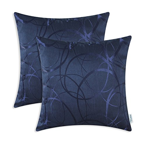 CaliTime Cushion Covers Pack of 2 Cushion Covers Throw Pillow Cases Shells for Couch Sofa Home Decor Modern Shining & Dull Contrast Circles Rings Geometric 40cm x 40cm Navy Blue