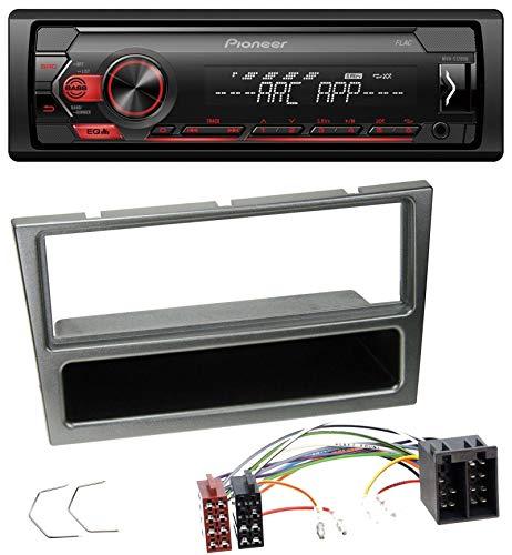 caraudio24 Pioneer MVH-S100UB USB AUX MP3 1DIN Autoradio für Opel Corsa C ISO 2000-2004 Aluminium