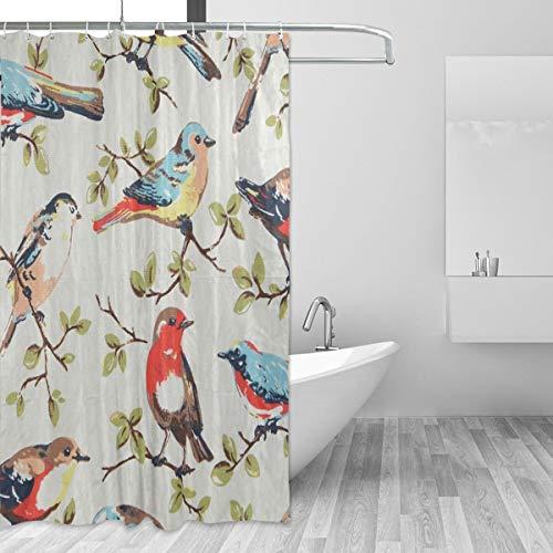FANTAZIO Duschvorhang Vögel & Bäume Polyester Badvorhang mit dicken C-förmigen Haken für Badezimmer wasserdicht langlebig & super wasserdicht 182,9 x 182,9 cm