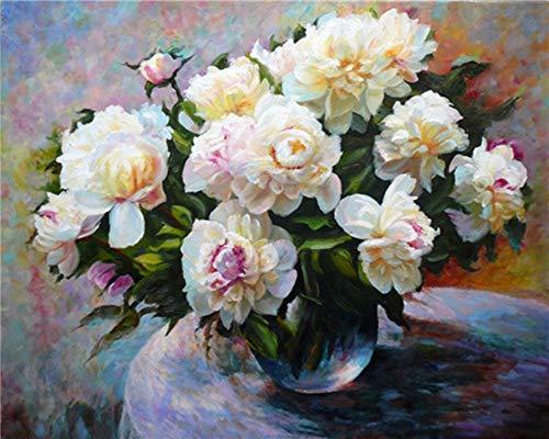 YEESAM ART DIY Ölgemälde Malen nach Zahlen Erwachsene Kinder, Weiße Blumen in der Vase Zahlenmalerei ab 5 Öl Wandkunst (Weiße, ohne Rahmen)
