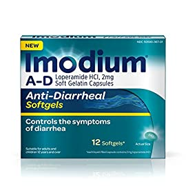Imodium A-D Anti-Diarrheal Medicine Softgels, 2 mg Loperamide Hydrochloride, 12 ct. 3 12-count package of Imodium A-D Anti-Diarrheal Softgels with loperamide HCl to help control and effectively treat diarrhea symptoms, often in just one dose The proven formula of this adult anti-diarrheal medicine works with your body to slow down your system and restore its natural rhythm and balance so you can get back to doing the things you love Each softgel capsule contains 2 milligrams of loperamide hydrochloride to help control symptoms of diarrhea due to acute, active and Traveler's diarrhea and is suitable for use by both children ages 12 and up as well as adults when used as directed