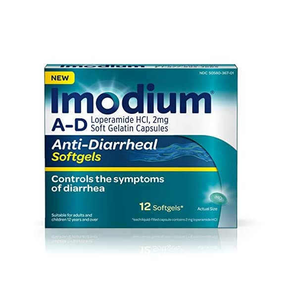 Imodium a-d anti-diarrheal medicine softgels, 2 mg loperamide hydrochloride, 12 ct. 1 12-count package of imodium a-d anti-diarrheal softgels with loperamide hcl to help control and effectively treat diarrhea symptoms, often in just one dose the proven formula of this adult anti-diarrheal medicine works with your body to slow down your system and restore its natural rhythm and balance so you can get back to doing the things you love each softgel capsule contains 2 milligrams of loperamide hydrochloride to help control symptoms of diarrhea due to acute, active and traveler's diarrhea and is suitable for use by both children ages 12 and up as well as adults when used as directed