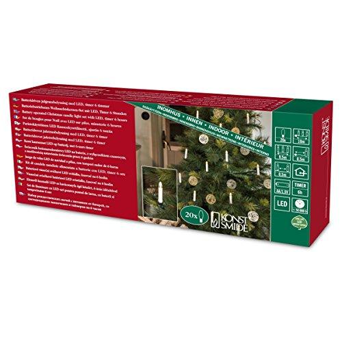 Konstsmide 1177-000 - Ghirlanda decorativa a LED per albero di Natale, con interruttore ON/OFF, timer a 6 ore, 20 diodi a luce bianca calda, funzionamento a batteria con 3 pile AA da 1,5 V (non incluse), colore cavo: verde
