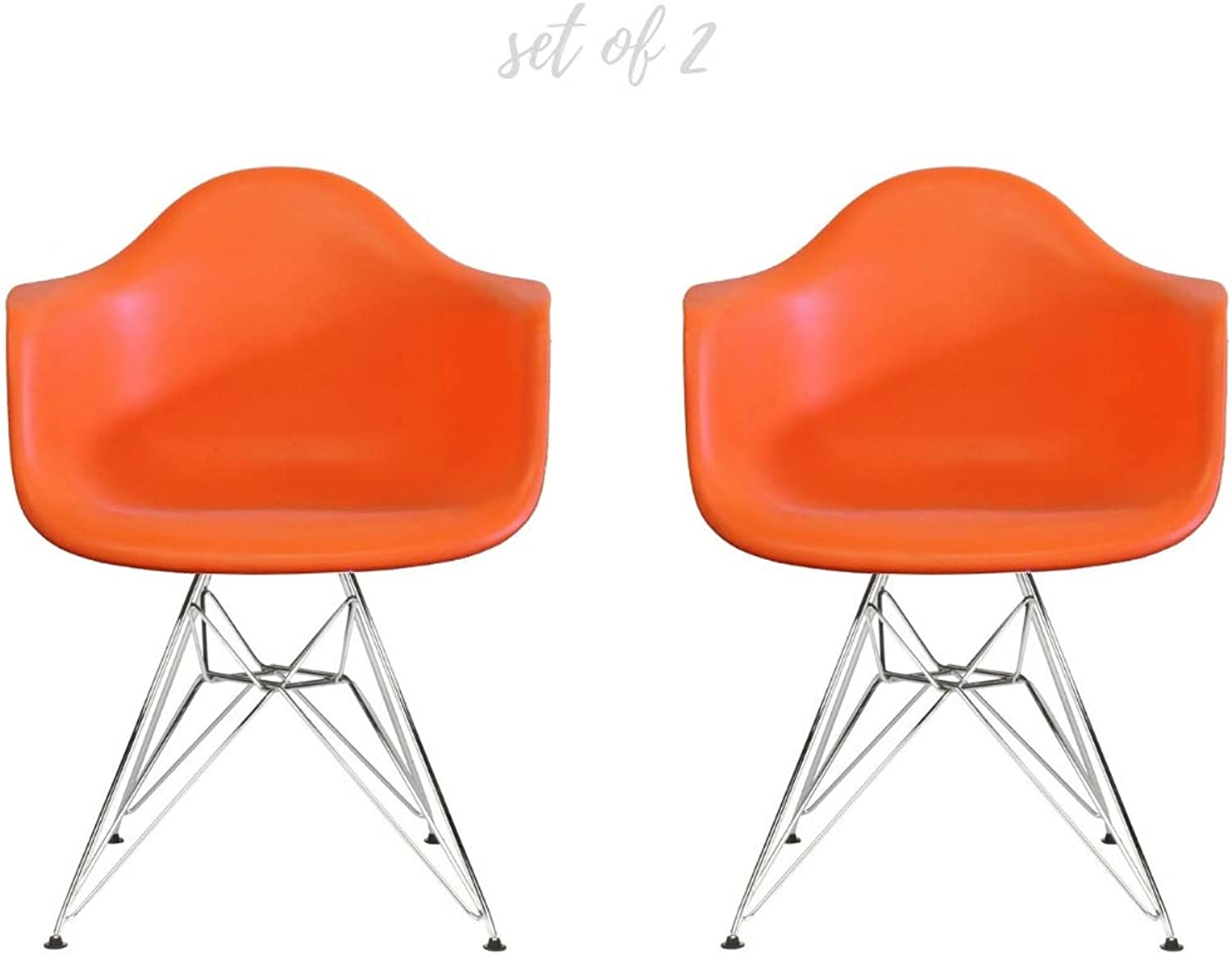 Take Me Home Furniture Eiffel Style Bucket Chair with Chrome Legs, orange, Set of 2, Dining Chair
