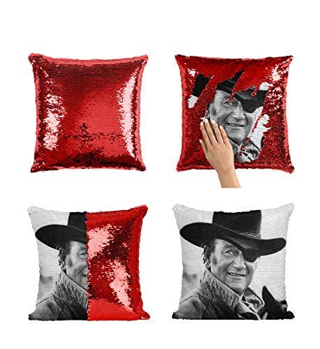 El Dorado MRZ3340 - Funda de almohada con lentejuelas, diseño de actor John Wayne con inserto de 40,6 x 40,6 cm, funda de almohada decorotive para niña y él (añadir inserto)