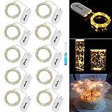 LED Lichterkette Batterie Silber Drahtlichterkette 2M 20 Micro LEDs Lichterkette mit CR2032 Batterie Betrieb IP65 Wasserdicht Lichter String Fairy Light für Party, Beleuchtung Dekor, Warmweiß