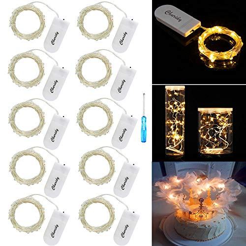 LED Lichterkette Batterie Silber Drahtlichterkette 2M 20 Micro LEDs Lichterkette mit CR2032 Batterie Betrieb IP65 Wasserdicht Lichter String Fairy Light für Party, Beleuchtung Dekor, Warmweiß