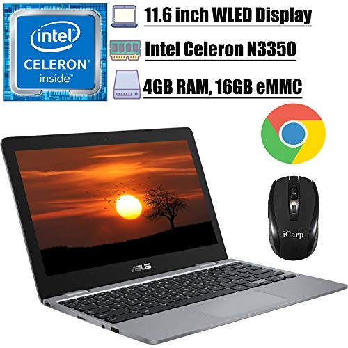 2020 Premium Asus Chromebook 11 Laptop Computer 11.6 inch HD WLED Display Intel Celeron Processor N3350 4GB 16GB eMMC WiFi Type C Type C Chrome OS + iCarp Wireless Mouse