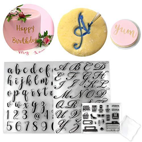 4PCs Alphabet Cake Stamp Tools, Alphabet & Numbers Fondant Cake Mold, DIY Cookie Stamp High Heel Sunglasses Fondant Molds for Fondant Biscuit Cake Cookie Mold Baking Tool