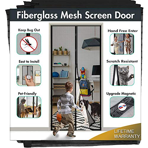"39""x99"" Fiberglass Magnetic Screen Door - IKSTAR Upgrade Reinforced Mesh Curtain with Magnet Closure, Hands Free, Full Frame Hook&Loop, Keep Bugs/Insect/Flys Out, Kid/Pets Entry Friendly, Black"