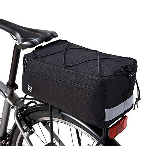 DCCN Multifunktional Kühltasche Gepäckträgertasche 8L Fahrradtasche Packtasche mit Schultergurt und Regenhülle 37 * 16 * 16cm - Schwarz