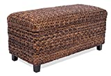 BIRDROCK HOME Abaca Storage Ottoman Bench - Bed Storage Trunk - Espresso Bench - Chest - Safety Hinges