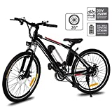 Hiriyt 26'' Electric Mountain Bike with Removable Large Capacity Lithium-Ion Battery (36V 250W), Electric Bike 21 Speed Gear and Three Working Modes (Unfoldable_Black)