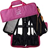 Chef Knife Bag Roll Bag Case   8 Pockets for Knives & Kitchen Utensils   2 Protective Flaps with Butcher Knife Pocket & Mesh Pocket   Durable Knife Case for Chefs & Culinary Students (Pink)