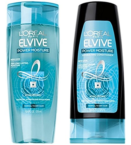 L'Oréal Paris Elvive Power Moisture Hydrating Shampoo and Conditioner Set, 12.6 fl. oz. each