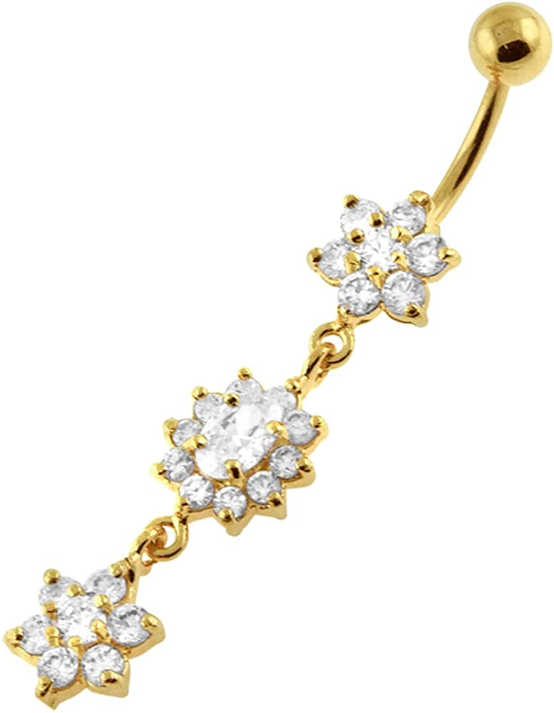 AtoZ Piercing Regular discount Gold Plated Clear Flower Triple CZ Stone Special sale item Dangling