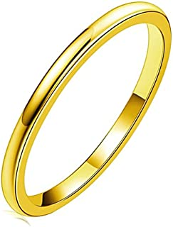 Sinlifu Stainless Steel 2mm Titanium Ring Matte Finish Polished Engagement Wedding Band