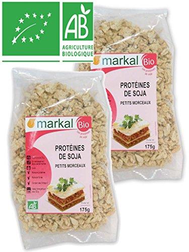 Markal - Protéines de SOJA Petits morceaux BIO - Lot de 2 Sachets de 175g