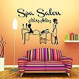 Terapeuta Spa Mujer Salón Salón de belleza Relax Etiqueta de la pared Masajista Señora Sala de fisioterapia Aplique de vinilo extraíble DIY Decoración para el hogar