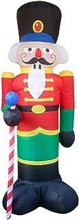 BESPORTBLE Soldado de Cascanueces Inflable de Navidad Decoraciones Al Aire Libre Ilumina Soldado de Santa Claus Inflable con 3 Luces Led Airblown Xmas Yard Sign Decoración de Vacaciones