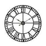 Grande orologio da parete vintage 80cm di diametro in metallo nero orologio XXL stile retrò, movimento al quarzo silenzioso, numeri romani design Shabby Chic(nero industriale 80 cm)