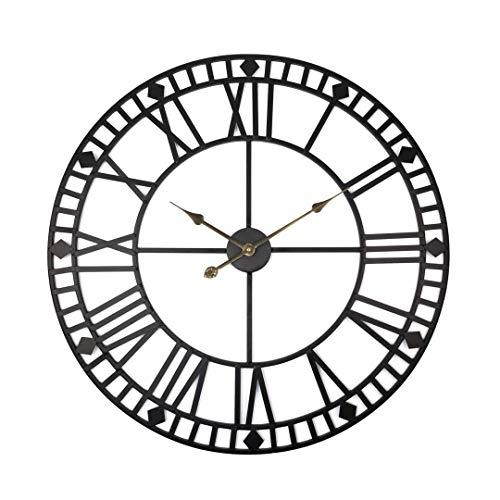 Grande horloge murale en métal XXL horloge vintage 80cm Sans bruit de tic-tac Mouvement à quartz silencieux...