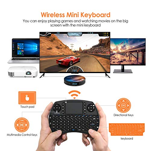 BANFAO Mini-Tastatur mit Hintergrundbeleuchtung, 2,4-GHz-Minitastatur mit Touchpad-Mauskombination, wiederaufladbarer Controller, kompatibel mit Android TV-Box, IPTV, HTPC, Smart-TV, PC, X-Box