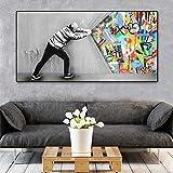 Refosian Banksy Canvas Wall Art Behind The Curtain Dipinti su Tela Poster e Stampe Graffiti Street Pictures Home Decor 70x140cm Senza Cornice