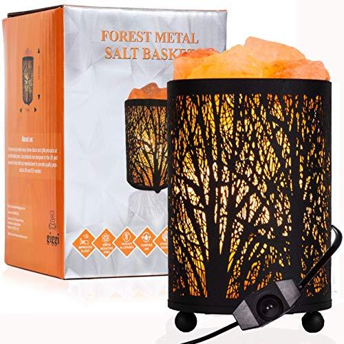 GIGGI Black Metal Basket Salt Lamp with 100% Pure Himalayan Salt Chunks Dimmer Switch Himalayan Rock Salt Lamp Ideal for Night Light Room Decor Desk Lamp Air Purifier Bedside Lamp Table Lamp (Forest)