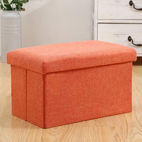 ZAIPP Pliable Pouf De Rangement,Banc Repose-Pieds Coffre De Jouet Coffee Table Moderne Solid Color Lin Tabourets pour Chambre Hall Foyer-Orange 40x25x25cm(16x10x10inch)