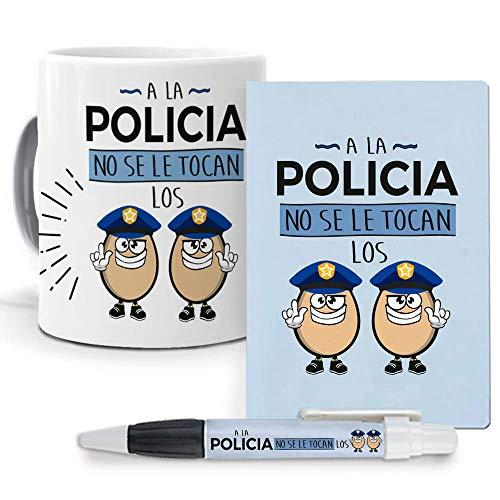 Pack Original y Personalizado para Regalo de Trabajos y Profesiones. A la policia no se le tocan los Huevos. Libreta, boligrafo y Taza Maxima Calidad.