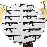 VICWOWONE Mantel militar – Mantel redondo de 35 pulgadas, silueta de hotel de varios tamaños armas armas revólveres War Army Power Concept sensación cálida negro blanco