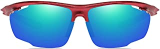 Fashion Red/Orange/Blue Men and Women with The Same Polarized Riding Sunglasses Outdoor Sports Anti-Glare PC Material Sunglasses Retro (Color : Red)