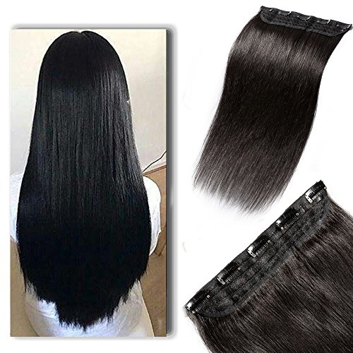 100% Human Hair Clip in Extensions 20 Inch 50g One-piece 5 Clips Long Straight Clip on Hairpiece Half Head for Women Wide Standard Weft Soft Silky #1B Off Black