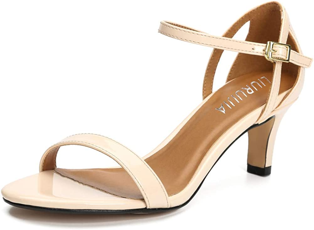 Women's Ankle Strap Kitten Heel Sandals Pump mart Heeled Mid Toe Oakland Mall Open