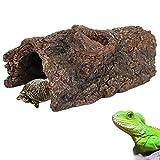 Esenlong Cueva de escondite de tortuga, simulación de corteza de árbol de resina de anfibios de reptil escondite cueva paisaje plataforma para lagarto escorpión