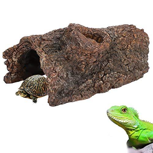 Qiraoxy Simulación Resina Corteza de Árbol Anfibios Reptil Ocultar Cueva Paisaje para Escorpión Lagarto
