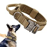 Tactical Dog Collar Military Dog Collar Adjustable Nylon Dog Collar Heavy Duty Metal Buckle with Handle for Dog Training ( Brown ,L )