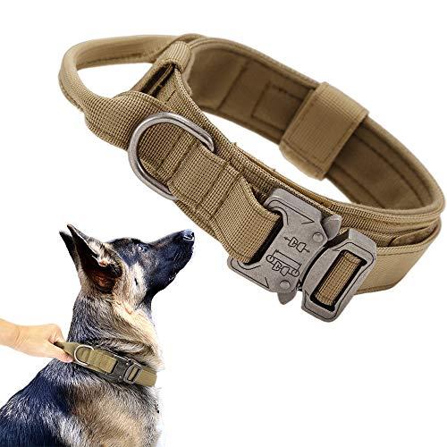 Tactical Dog Collar Military Dog Collar Adjustable Nylon Dog Collar Heavy Duty Metal Buckle with Handle for Dog Training